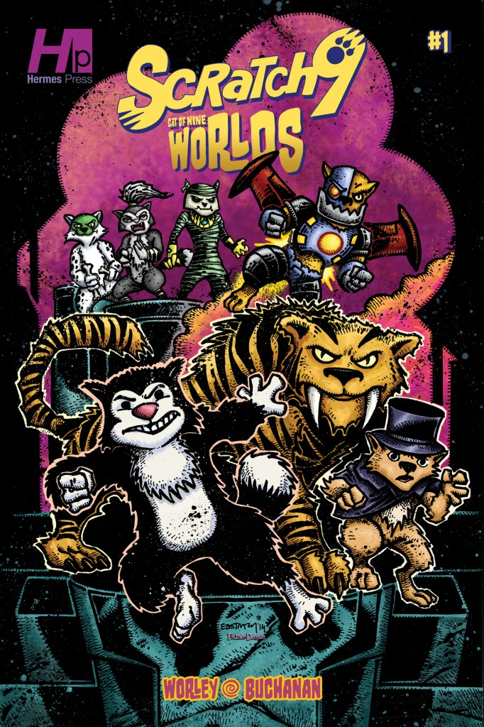 Kevin Eastman variant cover to Scratch9: Cat of Nine Worlds #1